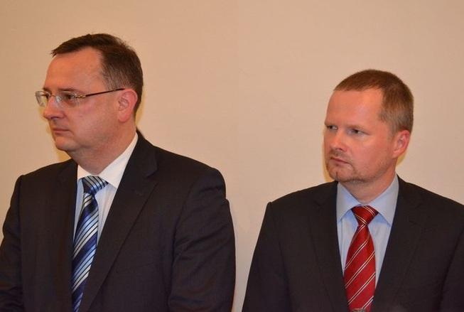 Slavnostní otevření Saského kontaktního centra: Ministr školství Petr Fiala s premiérem Petrem Nečasem